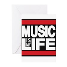 music is my life red Greeting Cards (Pk of 10)