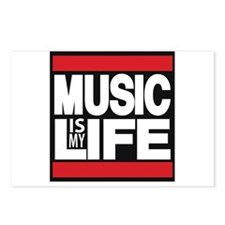 music is my life red Postcards (Package of 8)