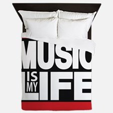 music is my life red Queen Duvet