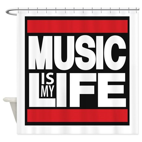 music is my life red Shower Curtain