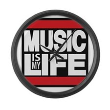 music is my life red Large Wall Clock