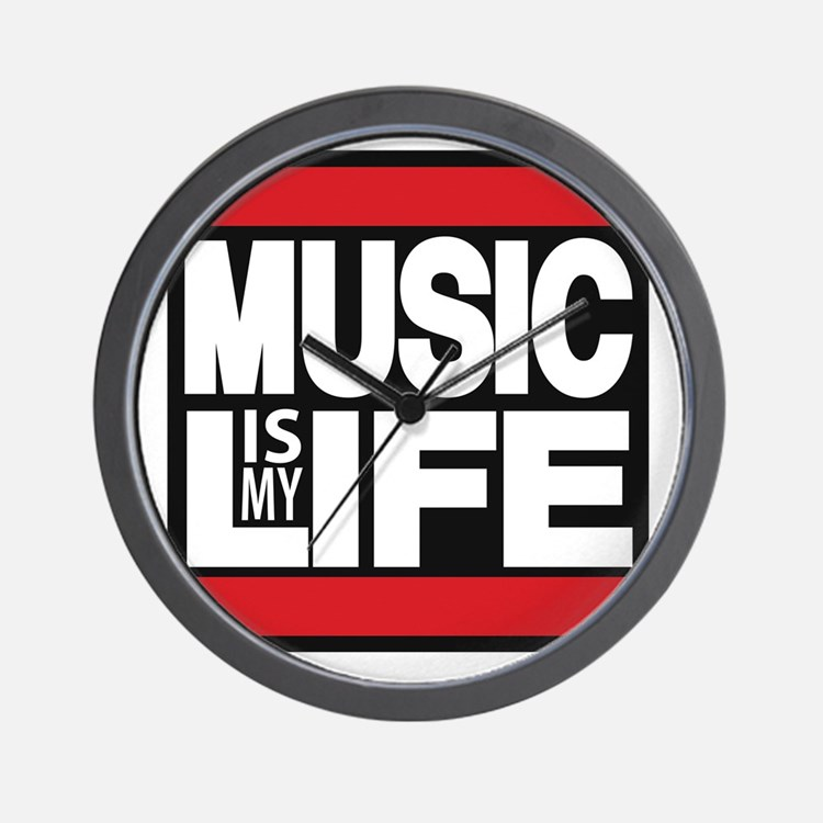 music is my life red Wall Clock