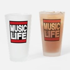 music is my life red Drinking Glass