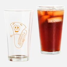 Orange Cartoon Trombone Drinking Glass