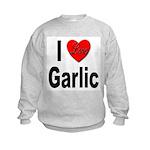 I Love Garlic (Front) Kids Sweatshirt