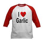 I Love Garlic (Front) Kids Baseball Jersey