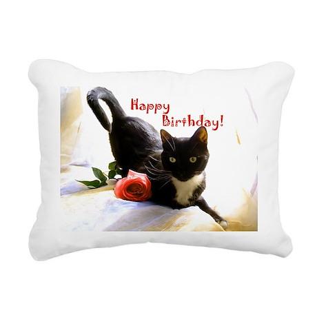 Happy Birthday Kitty Rectangular Canvas Pillow