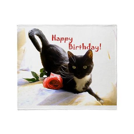 Happy Birthday Kitty Throw Blanket