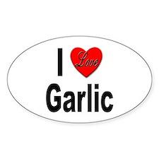 I Love Garlic Oval Decal