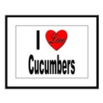 I Love Cucumbers Large Framed Print