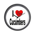 I Love Cucumbers Wall Clock