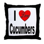 I Love Cucumbers Throw Pillow