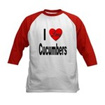 I Love Cucumbers (Front) Kids Baseball Jersey