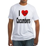 I Love Cucumbers (Front) Fitted T-Shirt