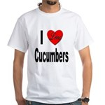 I Love Cucumbers (Front) White T-Shirt