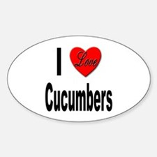 I Love Cucumbers Oval Decal