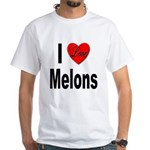 I Love Melons (Front) White T-Shirt