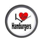 I Love Hamburgers Wall Clock
