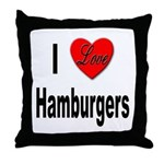 I Love Hamburgers Throw Pillow