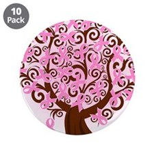 """The Tree of Life...Breast Cancer 3.5"""" Button (10 p"""