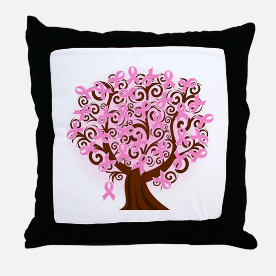 The Tree of Life...Breast Cancer Throw Pillow