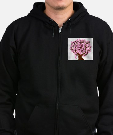 The Tree of Life...Breast Cancer Zip Hoodie