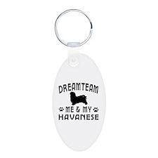Havanese Dog Designs Aluminum Oval Keychain