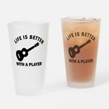 Ukulele Designs Drinking Glass
