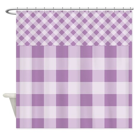 Lilac Violet Gingham Shower Curtain By ZandiepantsHomeDecor