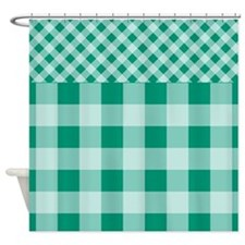 emerald Green Gingham pattern Shower Curtain