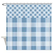 Dusk Blue Gingham pattern Shower Curtain