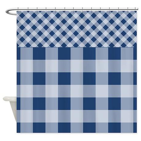 dark blue gingham pattern shower curtain by zandiepantshomedecor. Black Bedroom Furniture Sets. Home Design Ideas
