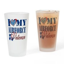 I Love My Airforce Veteran Drinking Glass