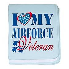 I Love My Airforce Veteran baby blanket
