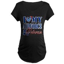 I Love My Airforce Veteran Maternity T-Shirt