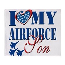 I Love My Airforce Son Throw Blanket