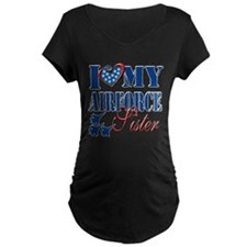 I Love My Airforce Sister Maternity T-Shirt