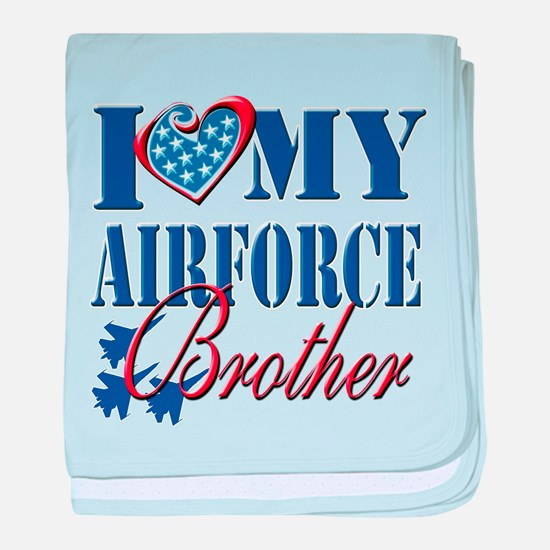 I Love My Airforce Brother baby blanket