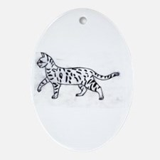 Bengal or Savannah Cat Ornament (Oval)