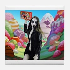 Goth Girl In Candyland 001 Tile Coaster