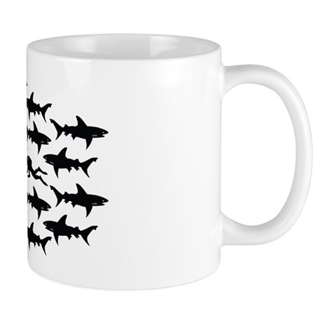 Scuba Diver Swimming in School of Sharks Mug