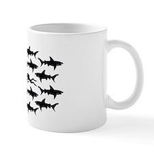 Scuba Diver Swimming in School of Sharks Mug