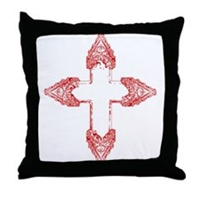 Ornate Red Gothic Cross Throw Pillow