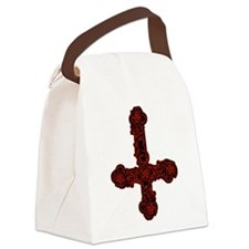 Inverted Cross And Red Roses Canvas Lunch Bag