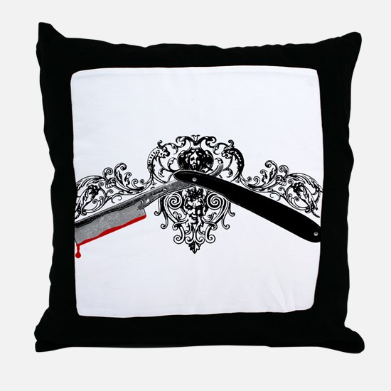Mad Barber Throw Pillow