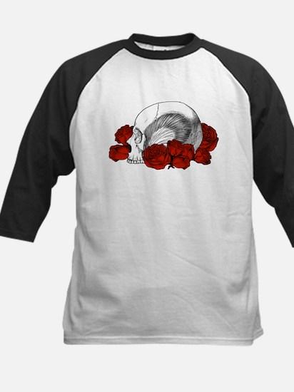 Skull And Red Roses Kids Baseball Jersey