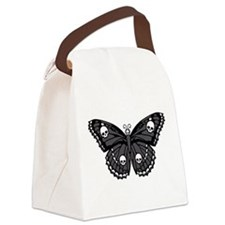 Gothic Skull Butterfly Canvas Lunch Bag
