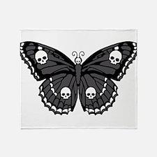 Gothic Skull Butterfly Throw Blanket