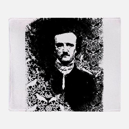 Poe On Raven Pattern Throw Blanket