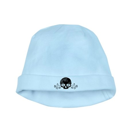 Skull With Flower Motif baby hat